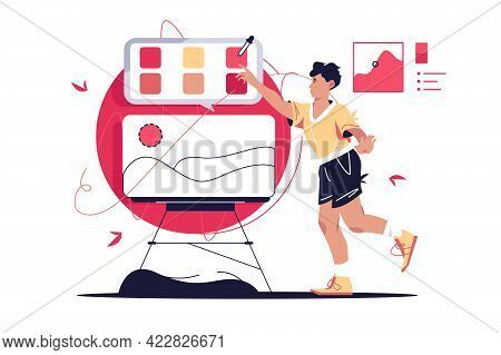 Guy Choosing Colour On Palette Vector Illustration. Man Creating Masterpiece Online On Screen Flat S