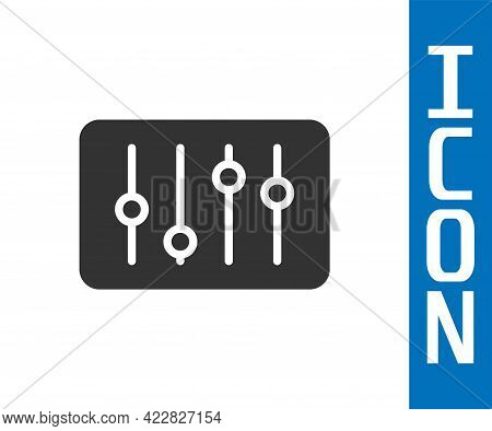 Grey Sound Mixer Controller Icon Isolated On White Background. Dj Equipment Slider Buttons. Mixing C