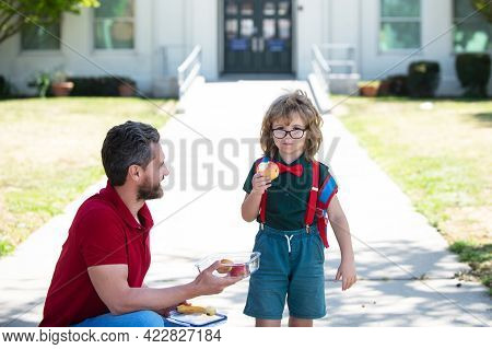 Kid Going To Primary School. Cute Schoolboy Eating Outdoors The School From Lunch Boxe. Healthy Scho