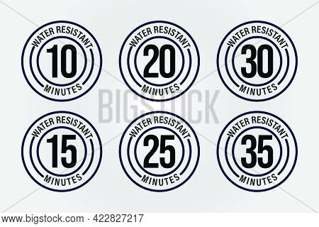 Water Resistant Vector Icon With Time, Black In Color