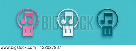 Paper Cut Pause Button Icon Isolated On Blue Background. Paper Art Style. Vector