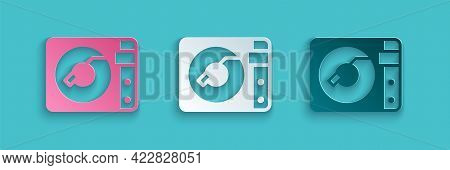 Paper Cut Vinyl Player With A Vinyl Disk Icon Isolated On Blue Background. Paper Art Style. Vector