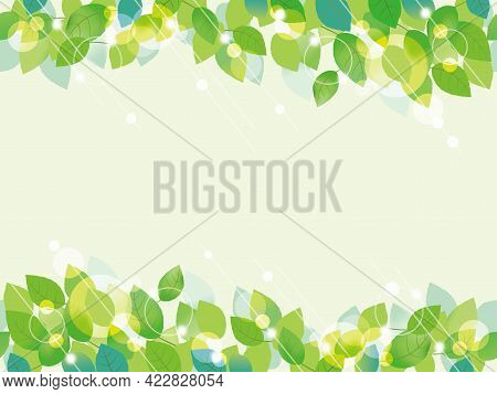 Seamless Vector Green Leaves Background Illustration Isolated On A Pale Green Background. Horizontal