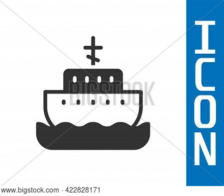 Grey Ark Of Noah Icon Isolated On White Background. Wood Big High Cargo. Vector