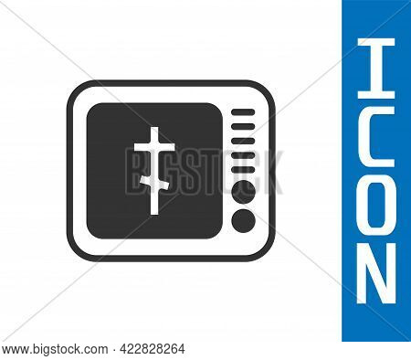 Grey Online Church Pastor Preaching Video Streaming Icon Isolated On White Background. Online Church