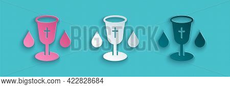 Paper Cut Christian Chalice Icon Isolated On Blue Background. Christianity Icon. Happy Easter. Paper