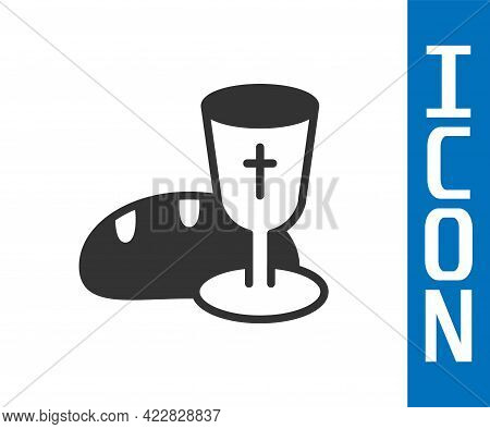Grey Goblet And Bread Icon Isolated On White Background. Bread And Wine Cup. Holy Communion Sign. Ve