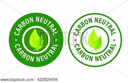 Carbon Neutral Vector Icon Set With Leaf, Eco Friendly Abstract