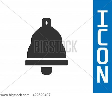 Grey Church Bell Icon Isolated On White Background. Alarm Symbol, Service Bell, Handbell Sign, Notif