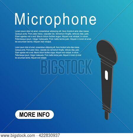 Microphone Isometric Icon, Audio Speech Symbol, Record Concert Sign, Web Button Design, Karaoke Flat