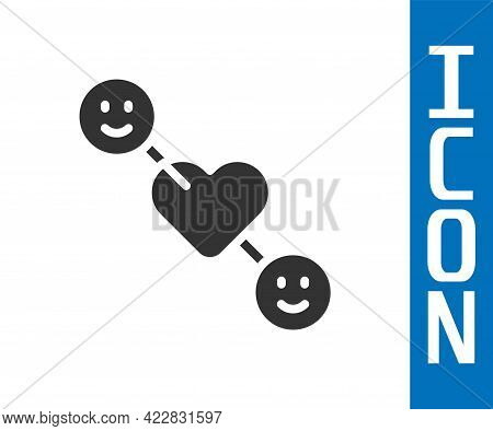 Grey Romantic Relationship Icon Isolated On White Background. Romantic Relationship Or Pleasant Meet