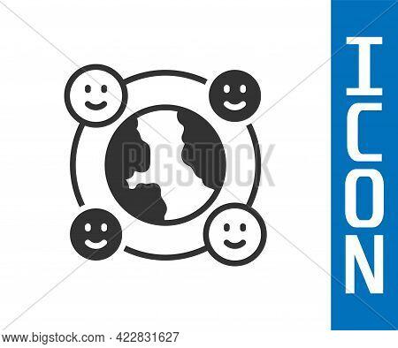 Grey International Community Icon Isolated On White Background. Worldwide Community. Cross Cultural