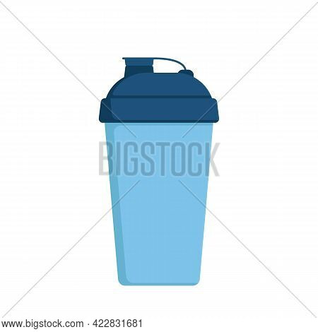 Sports Shaker Bottle With Protein Whey Drink Icon. Shake Mug For Protein Cocktails. Personal Refilla