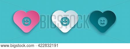 Paper Cut Good Relationship Icon Isolated On Blue Background. Romantic Relationship Or Pleasant Meet