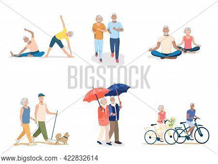 Active Elderly People Walk, Run, Ride Bicycles, Do Gymnastics, Do Yoga. Set Of Vector Illustrations