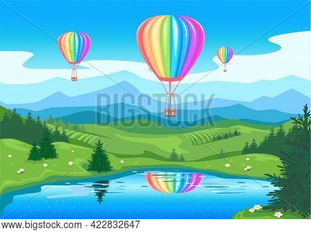 The Balloon Flies Over The Snow-capped Mountains Against The Backdrop Of A Beautiful Landscape. Ball