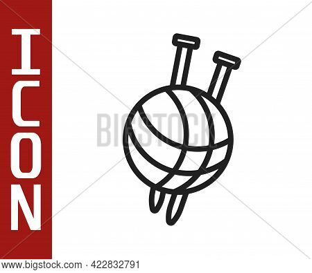 Black Line Yarn Ball With Knitting Needles Icon Isolated On White Background. Label For Hand Made, K