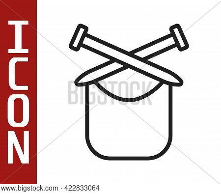 Black Line Knitting Icon Isolated On White Background. Wool Emblem With Knitted Fabric And Needle. L