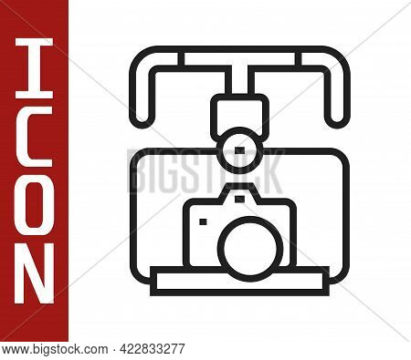 Black Line Gimbal Stabilizer With Dslr Camera Icon Isolated On White Background. Vector