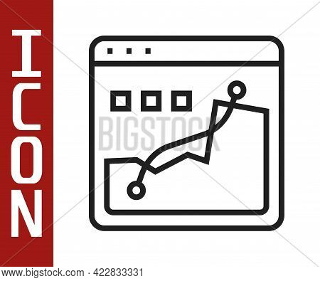 Black Line Histogram Graph Photography Icon Isolated On White Background. Vector