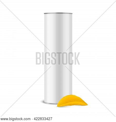 Vector 3d Realistic Glossy Blank White Metal Tin Can, Canned Food, Potato Chips Packaging And Realis