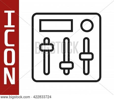 Black Line Sound Mixer Controller Icon Isolated On White Background. Dj Equipment Slider Buttons. Mi