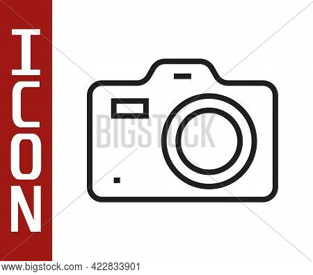 Black Line Photo Camera Icon Isolated On White Background. Foto Camera. Digital Photography. Vector