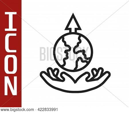 Black Line World Expansion Icon Isolated On White Background. Vector