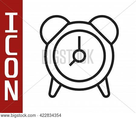 Black Line Alarm Clock Icon Isolated On White Background. Wake Up, Get Up Concept. Time Sign. Vector