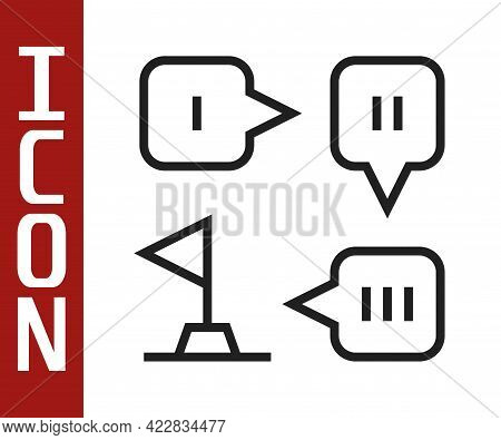 Black Line Planning Strategy Concept Icon Isolated On White Background. Formation And Tactic. Vector