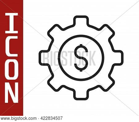 Black Line Gear With Dollar Symbol Icon Isolated On White Background. Business And Finance Conceptua