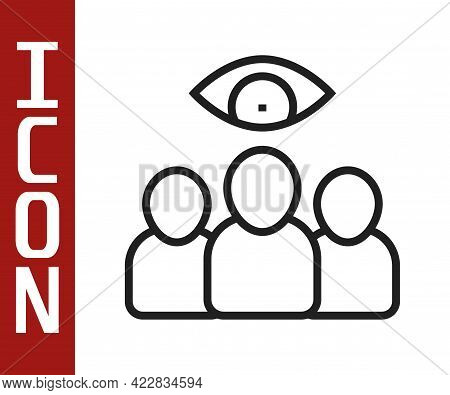 Black Line Spy, Agent Icon Isolated On White Background. Spying On People. Vector