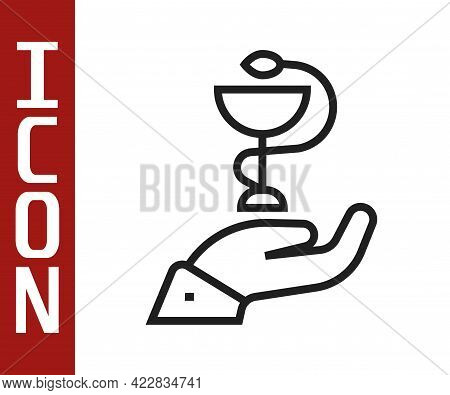 Black Line Caduceus Snake Medical Symbol Icon Isolated On White Background. Medicine And Health Care