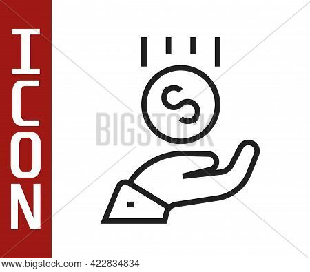 Black Line Coins On Hand - Minimal Wage Icon Isolated On White Background. Vector
