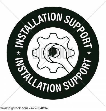 Installation Support Vector Icon. Service Abstract. Minimal Design