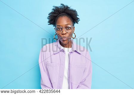 Attractive Flirty Curly Afro American Woman Waits For Kiss Keeps Lips Folded Blows Mwah Confesses In