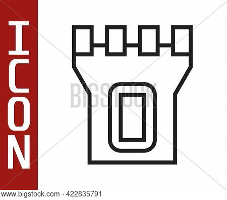 Black Line Castle Tower Icon Isolated On White Background. Fortress Sign. Vector