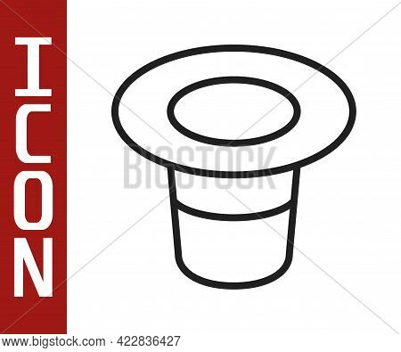 Black Line Magic Hat Icon Isolated On White Background. Magic Trick. Mystery Entertainment Concept.