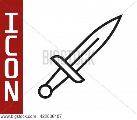Black Line Dagger Icon Isolated On White Background. Knife Icon. Sword With Sharp Blade. Vector