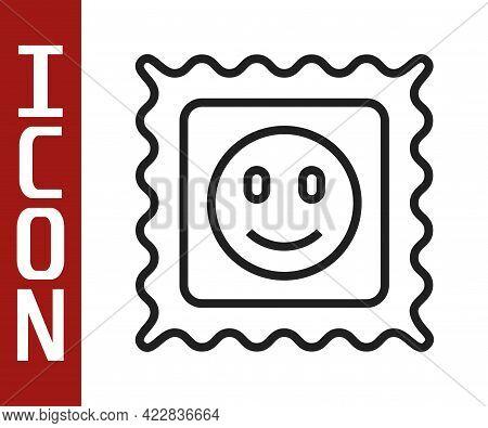Black Line Lsd Acid Mark Icon Isolated On White Background. Acid Narcotic. Postmark. Postage Stamp.