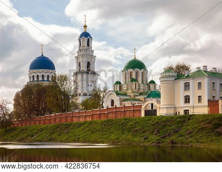 View Of The Temples Of The Holy Dormition Tikhonov Hermitage, An Ancient Monastery In The Kaluga Reg