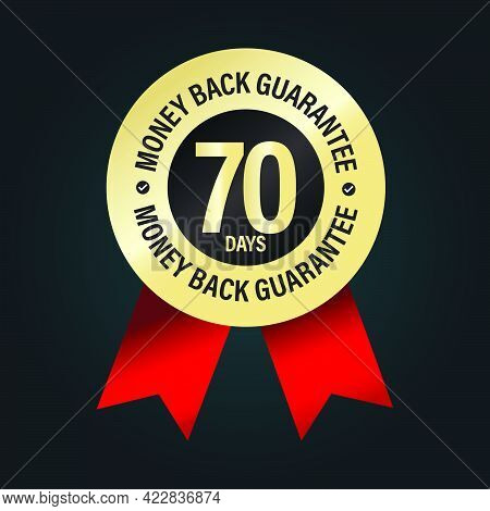 70 Days Money Back Guarantee Vector Icon With Red Ribbon