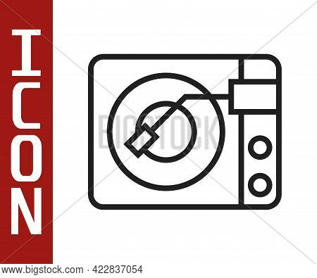 Black Line Vinyl Player With A Vinyl Disk Icon Isolated On White Background. Vector