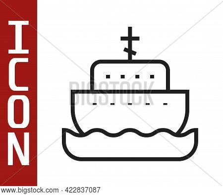 Black Line Ark Of Noah Icon Isolated On White Background. Wood Big High Cargo. Vector