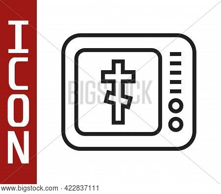Black Line Online Church Pastor Preaching Video Streaming Icon Isolated On White Background. Online