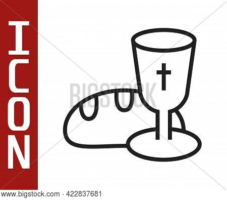 Black Line Goblet And Bread Icon Isolated On White Background. Bread And Wine Cup. Holy Communion Si
