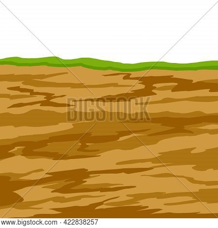 Land In The Section. Underground Background. Geological Layer. Archaeological Scenery. Brown Ground.