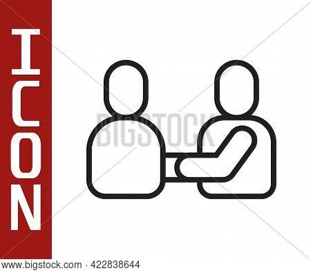 Black Line Happy Friendship Day Icon Isolated On White Background. Everlasting Friendship Concept. V
