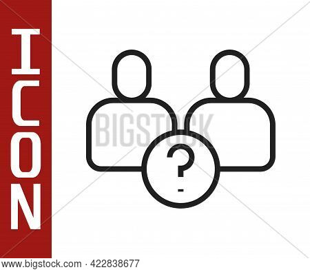 Black Line Complicated Relationship Icon Isolated On White Background. Bad Communication. Colleague