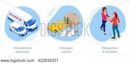 Isometric Concept Of International Shipment, Packages Letters And Postwoman Recipient . Post Office